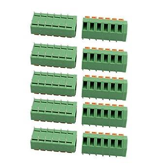 eDealMax 10pcs KF237 300V 10A Paso DE 5, 08 mm 6P Primavera del bloque de terminales Para montaje en PCB: Amazon.com: Industrial & Scientific