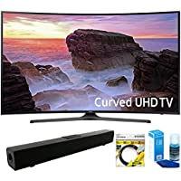 Samsung (UN55MU6500) Curved 55 4K Ultra HD Smart LED TV (2017 Model) with Solo X3 Bluetooth Home Theater Sound Bar + 6ft HDMI Cable + Universal Screen Cleaner for LED TVs
