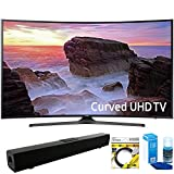 Samsung (UN55MU6500) Curved 55″ 4K Ultra HD Smart LED TV (2017 Model) with Solo X3 Bluetooth Home Theater Sound Bar + 6ft HDMI Cable + Universal Screen Cleaner for LED TVs