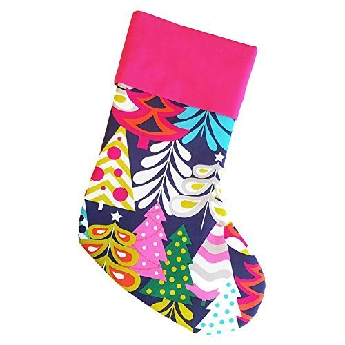 christmas stocking for girls dark navy blue with hot pink cuff cs00003 - Girls Christmas Stocking