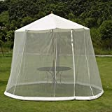 Outdoor Garden Umbrella Table Screen Parasol Mosquito Net Cover Bug Netting Cover,Gazebo Canopy Mosquito Netting,White,275x220cm