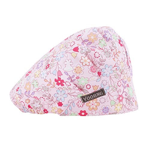 YOOBNG Women Scrub Bouffant Hat Cap Adjustable Classic Beauty Print Floral Cute One Set