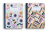 Pink Flower Patterned Wide Ruled 100 Sheets Composition Notebooks - (Pack of 2)