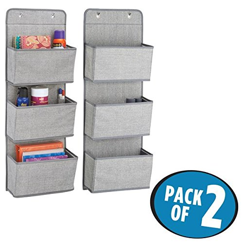 mDesign Over the Door Fabric Office Supplies Storage Organizer for Notebooks, Planners, File Folders - Pack of 2, 3 Pockets Each, Gray - Office Supplies Closet Organizer