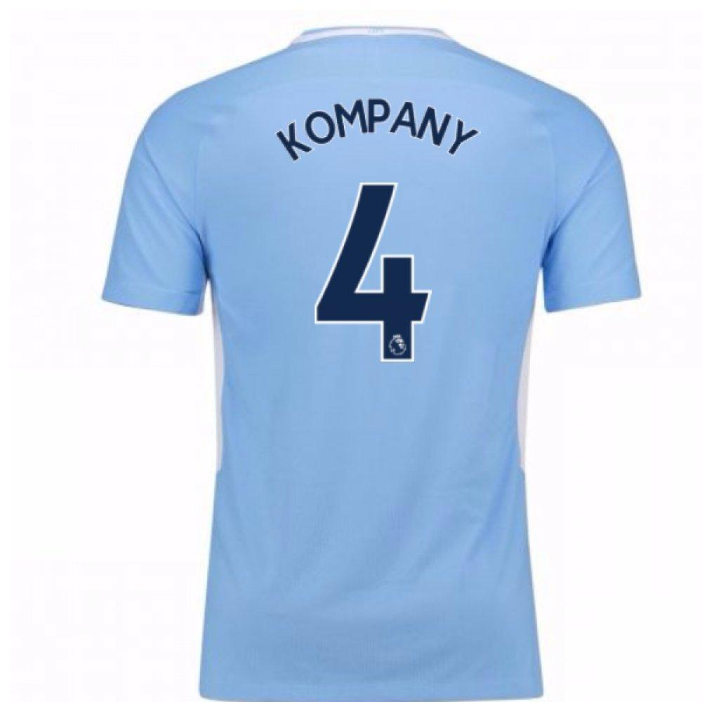2017-18 Man City Home Football Soccer T-Shirt Trikot - Kids (Vincent Kompany 4)