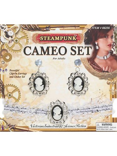 Steampunk Cameo Ear Rings & Choker Set]()