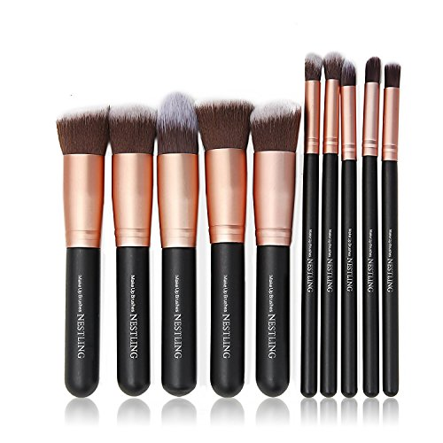 QITAO Pinceaux de maquillage 10PCs Makeup Brush Set Fond de teint professionnel Eyeliner Shadow Powder Pinceaux de maquillage - Rose Or