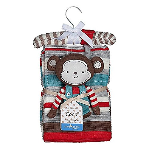 Lolli Living Knitted Blanket & Coco Monkey Rattle
