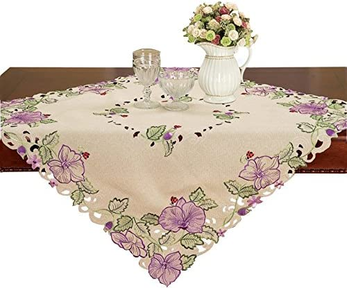 Simhomsen Small Floral Tablecloth Topper Embroidered Pink Flower Square 36 Inch