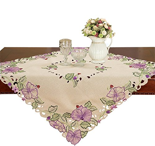 (Simhomsen Small Purple Floral Tablecloth Topper Embroidered Flower, Toppers, Tablecovers for End Table, Tea Table, Coffee Table and NightstandSquare 33 Inch)