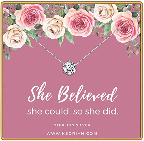 KEDRIAN She Believed She Could So She Did Necklace, 925 Sterling Silver, Inspirational Gifts for Women, Nevertheless She Persisted Pendant Necklaces, Encouragement Inspirational Jewelry Gift ()