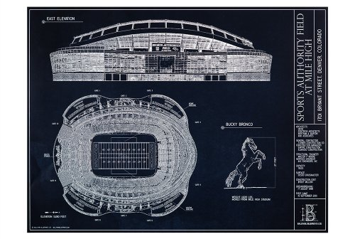Sports Authority Field at Mile High Blueprint Style Print (Unframed, 18