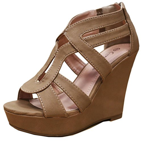 Cambridge Select Women's Strappy Open Toe Platform Wedge Heel Sandal (7 B(M) US, Tan) (Wedge Platform Brown)