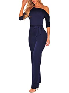 FairBeauty Women Casual Sexy Off Shoulder High Waist Long Pant Wide Leg Ruffle Party Lace Jumpsuits