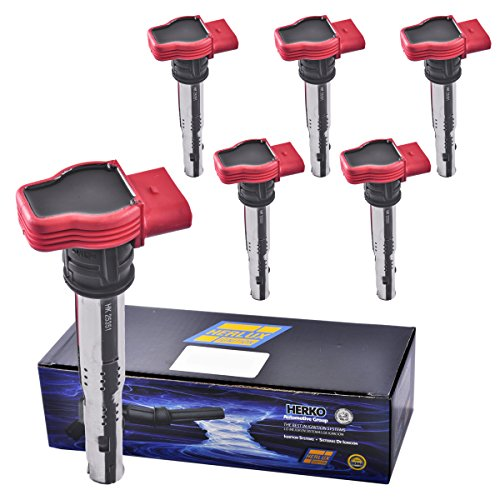 [Set of 6 Herko B156 Ignition Coils For Audi Volkswagen Porsche V6 V8 V10 07-13] (Audi S6 V10)