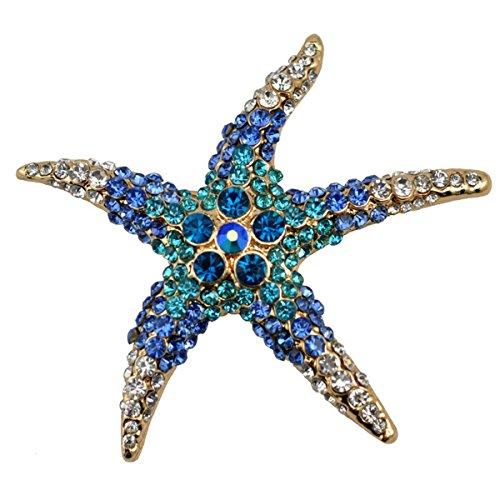 [Blue Starfish Rhinestone Brooch Pin Women Jewelry Sweater Shawl Scarf Buckle] (Spider Costume Pattern Free)