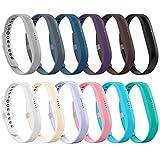 LEEFOX 12 Colors Fitbit Flex 2 Bands, Adjustable Fit Bit Flex 2 Accessories Silicon Replacement Wristbands w/Fastener Clasp Fitness Strap Original Fitbit Flex 2, 12 Packs, Small(Psalm 23-3)