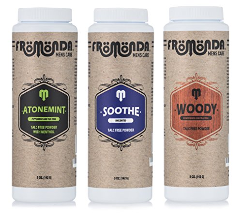 Fromonda Variety Pack Talc-Free Body Powder - AtoneMint, Soothe & Woody, (3 Pack), 5 oz each - Usa Body Powder