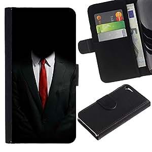 // PHONE CASE GIFT // Moda Estuche Funda de Cuero Billetera Tarjeta de crédito dinero bolsa Cubierta de proteccion Caso Apple Iphone 5 / 5S / ANONYMOUS SUIT /