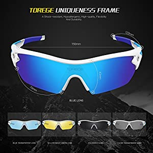 Torege Polarized Sports Sunglasses With 5 Interchangeable Lenes for Men Women Cycling Running Driving Fishing Golf Baseball Glasses TR002 (White&Ice Blue lens)