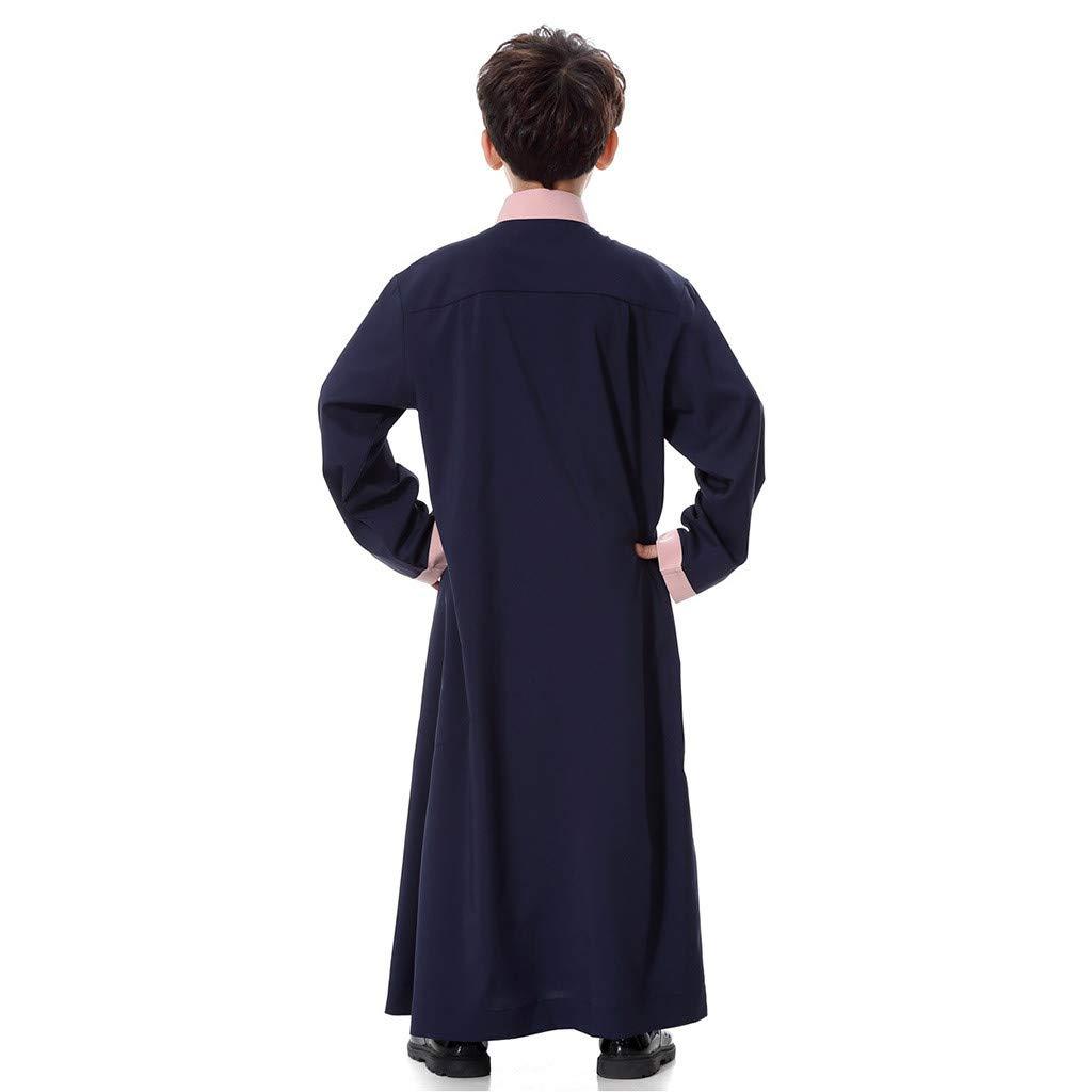 LHWY Sommerkleid Damen Elegant Mans Lang/äRmelige Solide Saudi-Arabische Islamische Muslimische Dubai-Robe F/üR Jungen Lang Maxikleid Vintage