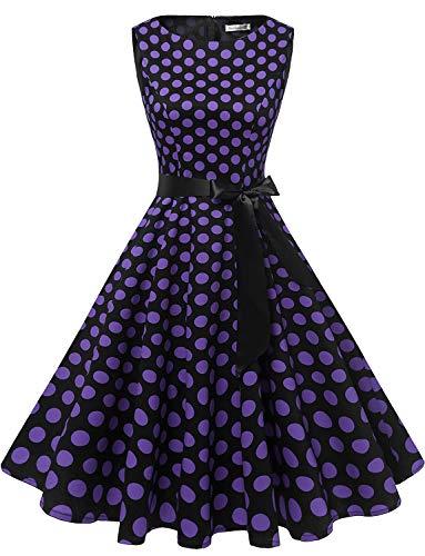 - Gardenwed Women's Audrey Hepburn Rockabilly Vintage Dress 1950s Retro Cocktail Swing Party Dress Black Purple Dot S