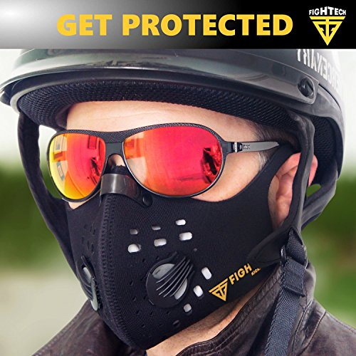 Anti-Pollution Dustproof/Dust Mask with 2 Valves and 4 Activated Carbon N99 Filters. Filtration of Exhaust Gas, Pollen Allergy and PM2.5. Cycling Face Mask for Outdoor Activities by FIGHTECH (BLK) by FIGHTECH (Image #3)
