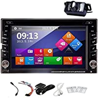 In-Dash 2 DIN Car Autoradio Stereo Headunit CD DVD Player 6.2-Inch Touch Screen Bluetooth GPS Navigation System Auto Radio FM AM MP3 Free Backup Camera