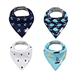 Alva Baby Unisex Bandana Bibs Boys Girls for Drooling Teething Feeding, Super Absorbent 100% Cotton, Newborn Infant Toddler Baby Gifts (Pack of 4) SK19-CA