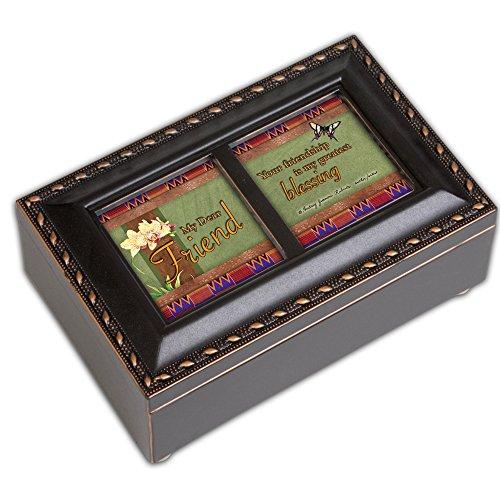 Dear Friend Black Cottage Garden Petite Music Box Plays Thats What Friends Are - What's Petite