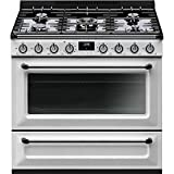 Smeg TRU36GMWH Victoria Series Freestanding Range 36-Inch with 5 Gas Burners, 4.5 Cu. Ft. Total Oven Capacity, 8 Cooking Modes, Continuous Grates, Viewing Window, White