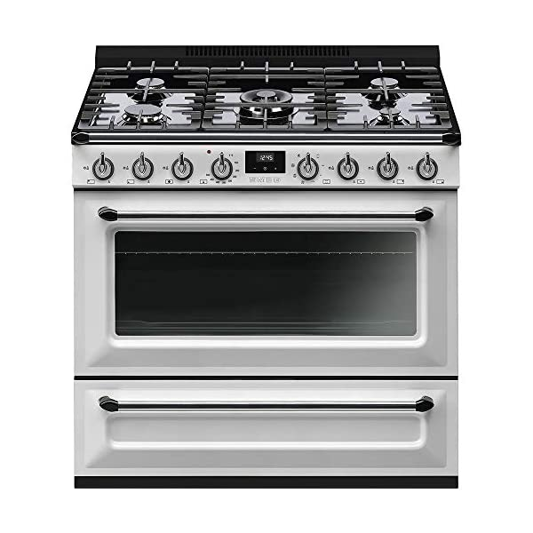 Smeg TRU36GMWH Victoria Series Freestanding Range 36-Inch with 5 Gas Burners, 4.5 Cu. Ft. Total Oven Capacity, 8 Cooking… 1