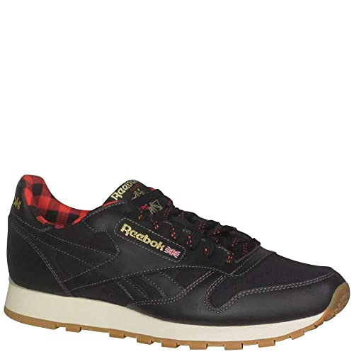 85d381461bc5c Reebok Men s CL Leather LJ Fashion Sneakers Black Primal Red Gold Paper  White Alloy  Amazon.co.uk  Shoes   Bags