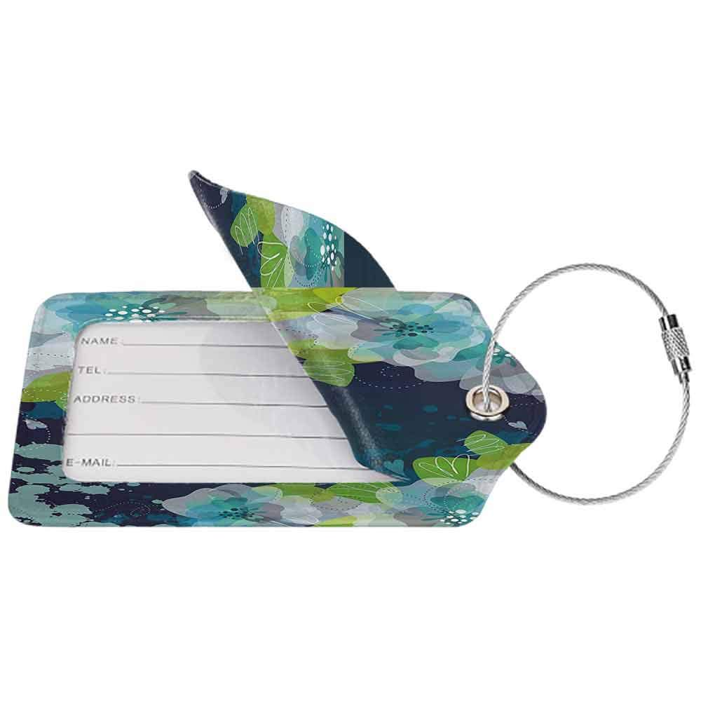 Durable luggage tag Navy Sketchy Abstract Blossoms Flowers with Leaves on Grunge Backdrop Unisex Navy Blue Light Green and White W2.7 x L4.6