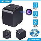 Hidden Mini Camera Night Vision Dual USB Charger Camera Motion Detection Camera [1080P None WIFI HD Cam] Video Camera Remote View Live Camera Nanny Camera Mini USB Wall Charger Adapter Camera Safety S