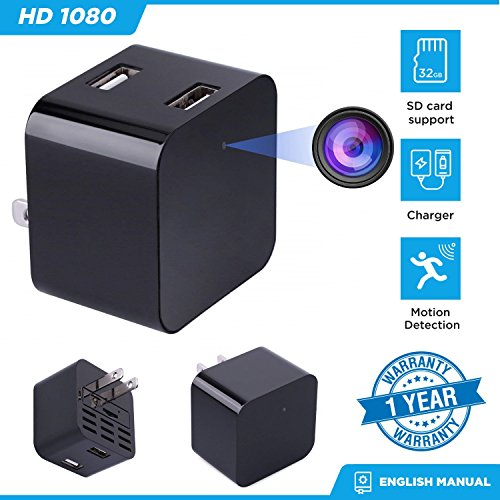 Hidden Mini Camera Night Vision Dual USB Charger Camera Motion Detection Camera [1080P None WIFI HD Cam] Video Camera Remote View Live Camera Nanny Camera Mini USB Wall Charger Adapter Camera Safety S by GoodByeReality!