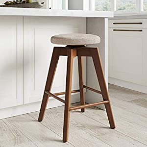 Nathan James Amalia Backless Kitchen Counter Height Bar Stool, Solid Wood with 360 Swivel Seat, Natural Wheat/Antique…