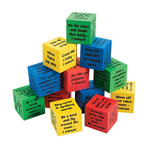 Fun Express - Classroom Brain Break Activity Dice - Educational - Learning Aids - Misc Learning Aids - 12 Pieces -