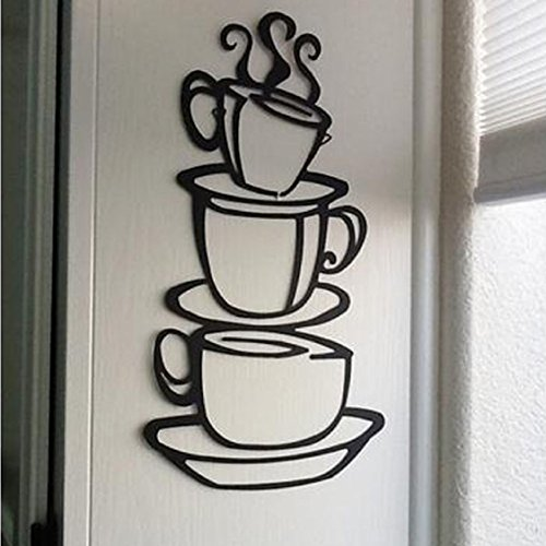 Wall Stickers,Ikevan Removable DIY Kitchen Decor Coffee House Cup Decals Vinyl Wall Sticker ()