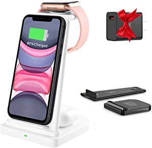 Wireless Charger Fast Qi Certified 3 in 1 Wireless Charging Station Stand Dock for iPhone 12/12 pro/12 pro Max/iPhone 11/11 pro/11 pro Max/X/XS/XR/Xs Max/8/8 Plus,Apple Watch 6/5/4/3/2,Earbuds 2/Pro