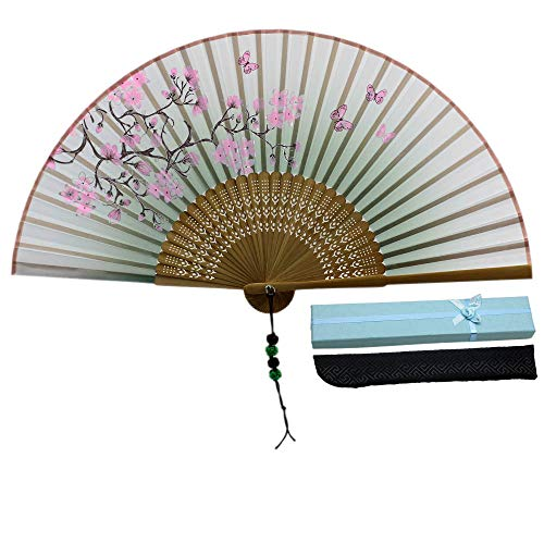 - JSSWB Green Handmade Silk Bamboo Hand Fan with Blomming Flowers Painting