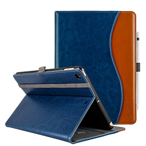 - New iPad 9.7 Case 2017/2018 Premium PU Leather Smart Case Folio Cover with Anti-Slip Stripe Card Holder Pocket Smart Auto Wake and Sleep for New iPad 9.7 (9.7 Inch 2017 New iPad, Lake Blue)