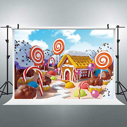 Riyidecor Sweet Candyland Lollipop Backdrop Winter Cartoon Gingerbread House Kids Colorful Photography Background 7x5ft Baby Shower Decoration Birthday Studio Party Photo Shoot Blush Vinyl Cloth