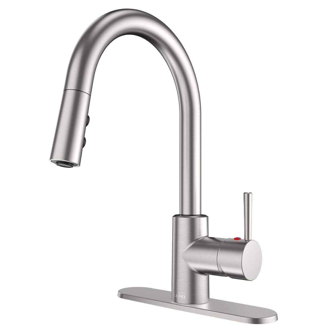 LEPO Kitchen Faucet,Commercial High Arc Pull Out Kitchen Sink Faucet with Pull Down Sprayer,Brushed Nickel Lead-Free Stainless Steel Bar Kitchen Sink Faucet,Single Hole and 3 Hole Deck Mount