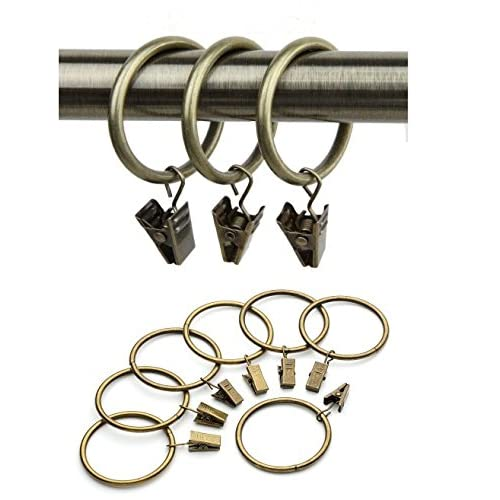 cheap P2P@zita20 pack Bronze Metal Curtain Rings with Clips 1 Inch