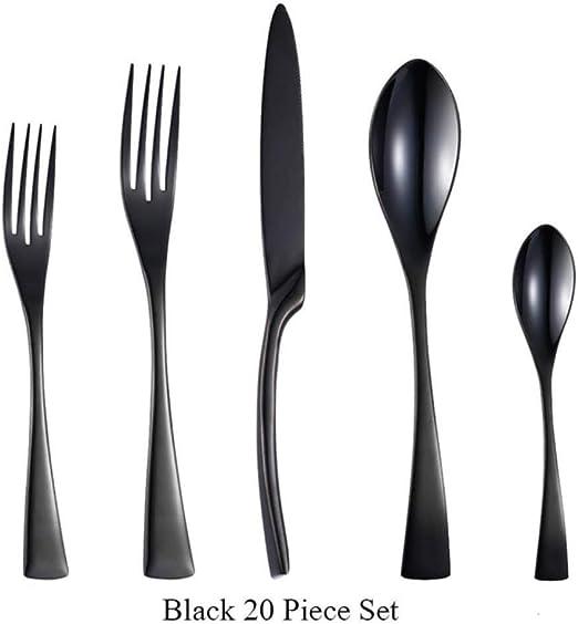 SYSFOUR 4 Piezas/Juego de Cubiertos de Acero Inoxidable Negro 20 Piezas/ Juego de vajilla Cubiertos de Mesa Juego de Cubiertos Cuchillo y Tenedor para la Cena, Juego de 20 Piezas Negro: Amazon.es: Hogar
