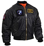 Rothco MA-1 Flight Jacket with Patches, Black, M
