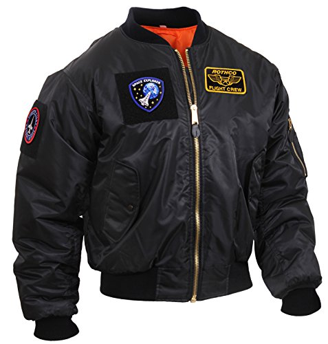 Rothco MA-1 Flight Jacket with Patches, Black, XL (Reversible Jacket Flight 1 Ma)