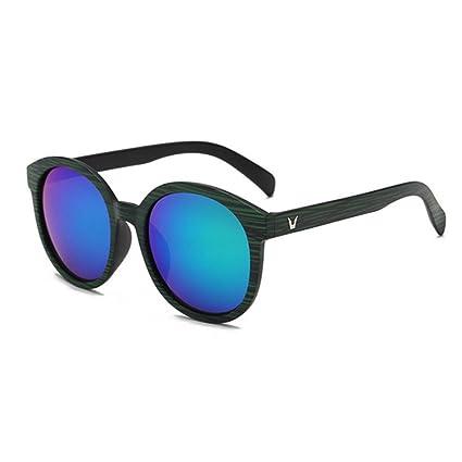 BiuTeFang Gafas de Sol Mujer Hombre Polarizadas Patrón de Madera Retro de Moda Gafas de Sol