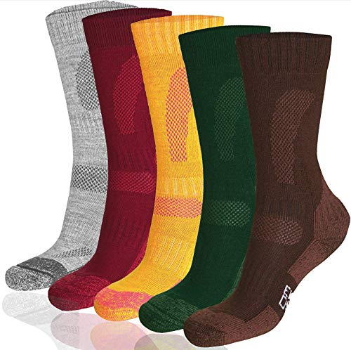 DANISH ENDURANCE Merino Wool Hiking & Trekking Socks (Multicolor: Brown, Red, Green 3 Pairs, US Women 11-13 // US Men 9.5-12.5) by DANISH ENDURANCE